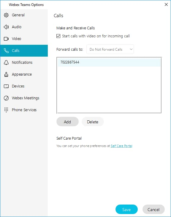 Screen shot of Webex team user options menu with the Calls tab selected