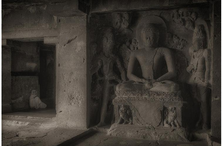 """Artwork """"Temple attendant and Sitting Buddha, Ellora Caves, India"""" by Fred Sigman"""