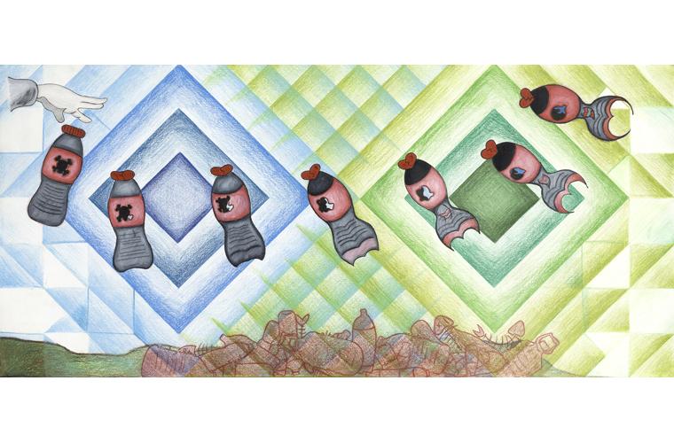 """Lisa Lewis, """"Metamorphosis"""", Colored Pencil on Poster Board, 30"""" x 14"""", 2019"""
