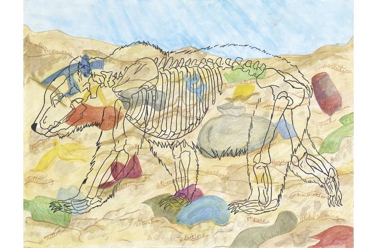 "Lisa Lewis, ""Polar Landfill Bear"", Colored Pencil & Watercolor on Multimedia Paper, 24"" x 18"", 2019"