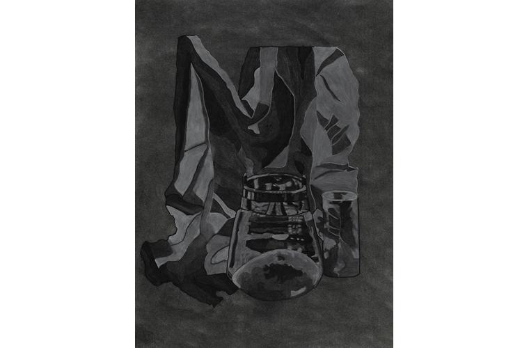 "Matthew Katigbak, ""Metal and Drapery"", Charcoal on Canvas, 18""x 24"", 2017"