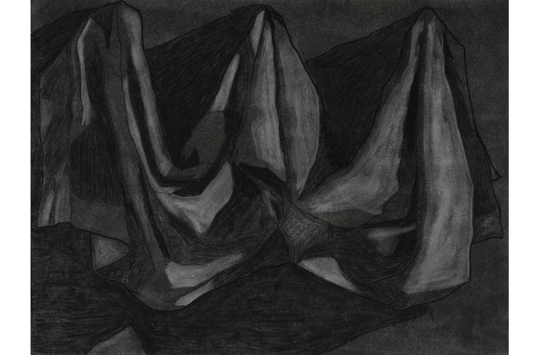 "Matthew Katigbak, ""Drapery"", Charcoal on Canvas, 24""x 18"", 2017"
