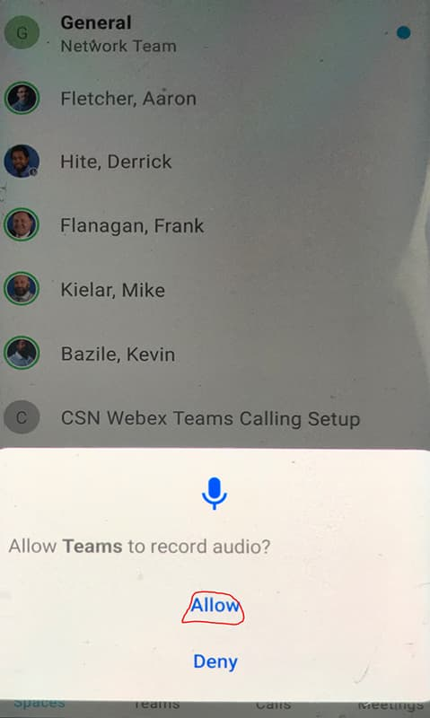 Screen shot showing Allow button