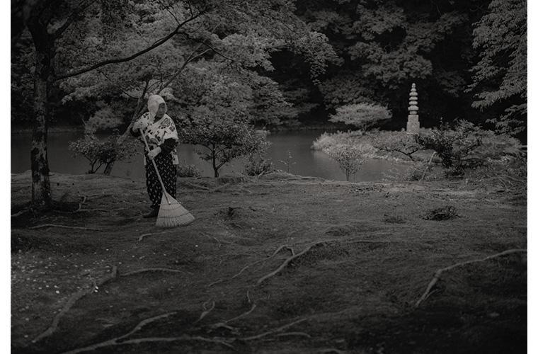 "Artwork ""Temple Attendant Raking Leaves, Kinkagu-ji, Kyoto, Japan"" by Fred Sigman"