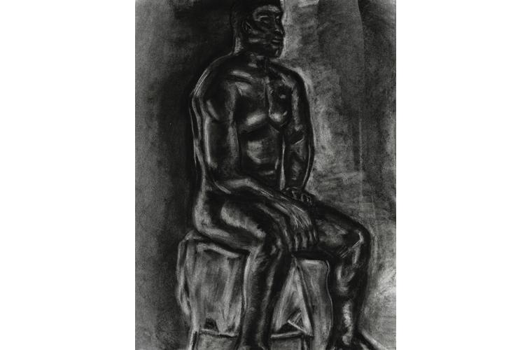 "Matthew Katigbak, ""Dark Man"", Charcoal on Canvas, 18""x 24"", 2018"
