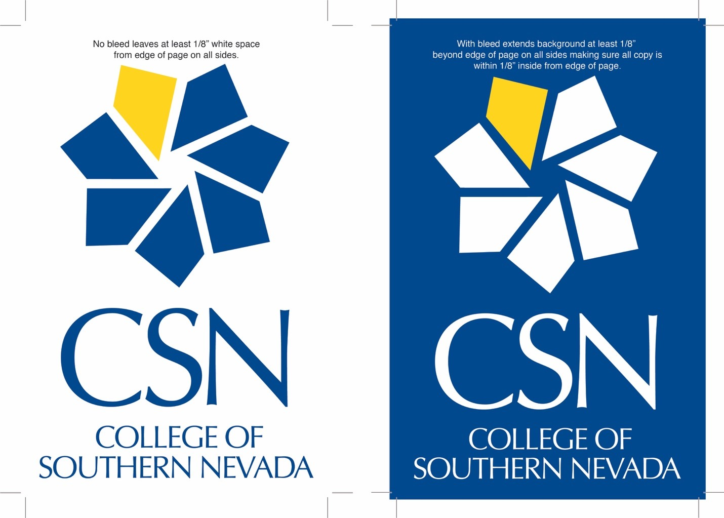 CSN Logo size and bleed printing example