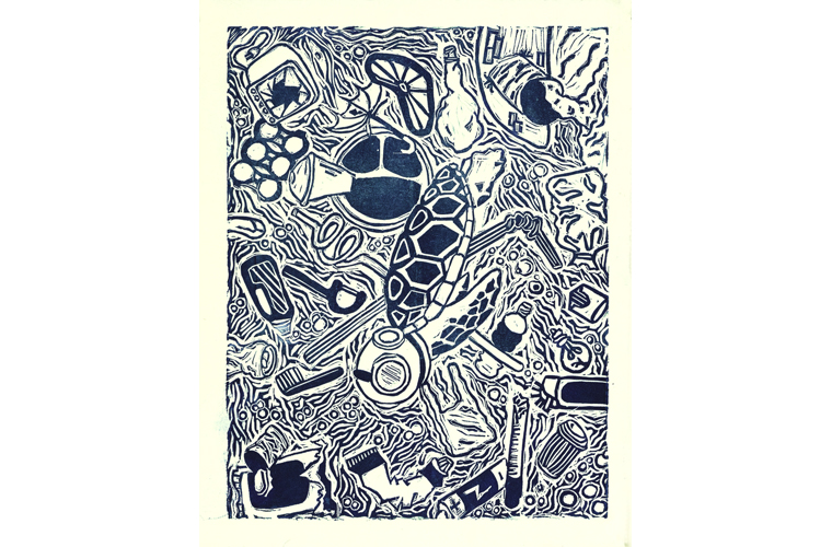 """Lisa Lewis, """"Everything But The Animals"""", Relief Print on Stonehenge Paper, 8"""" x 11"""", 2021"""