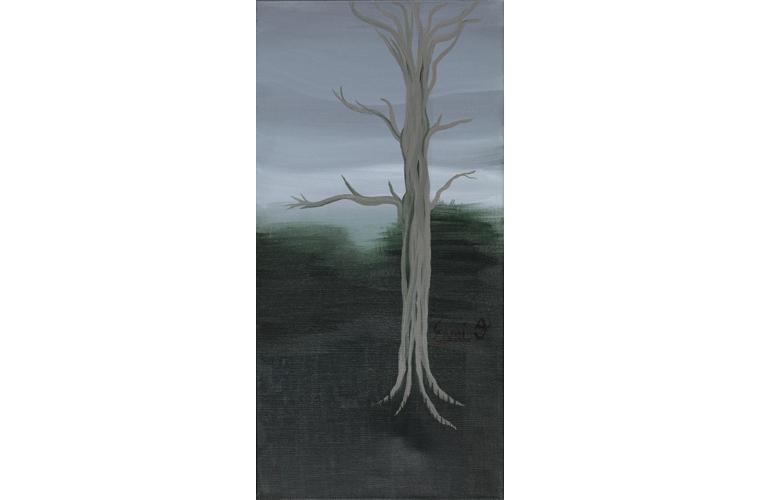 """Esmi O'Arte, """"Still Tree"""", Acrylic on Canvas, 24"""" x 12"""", 2020"""