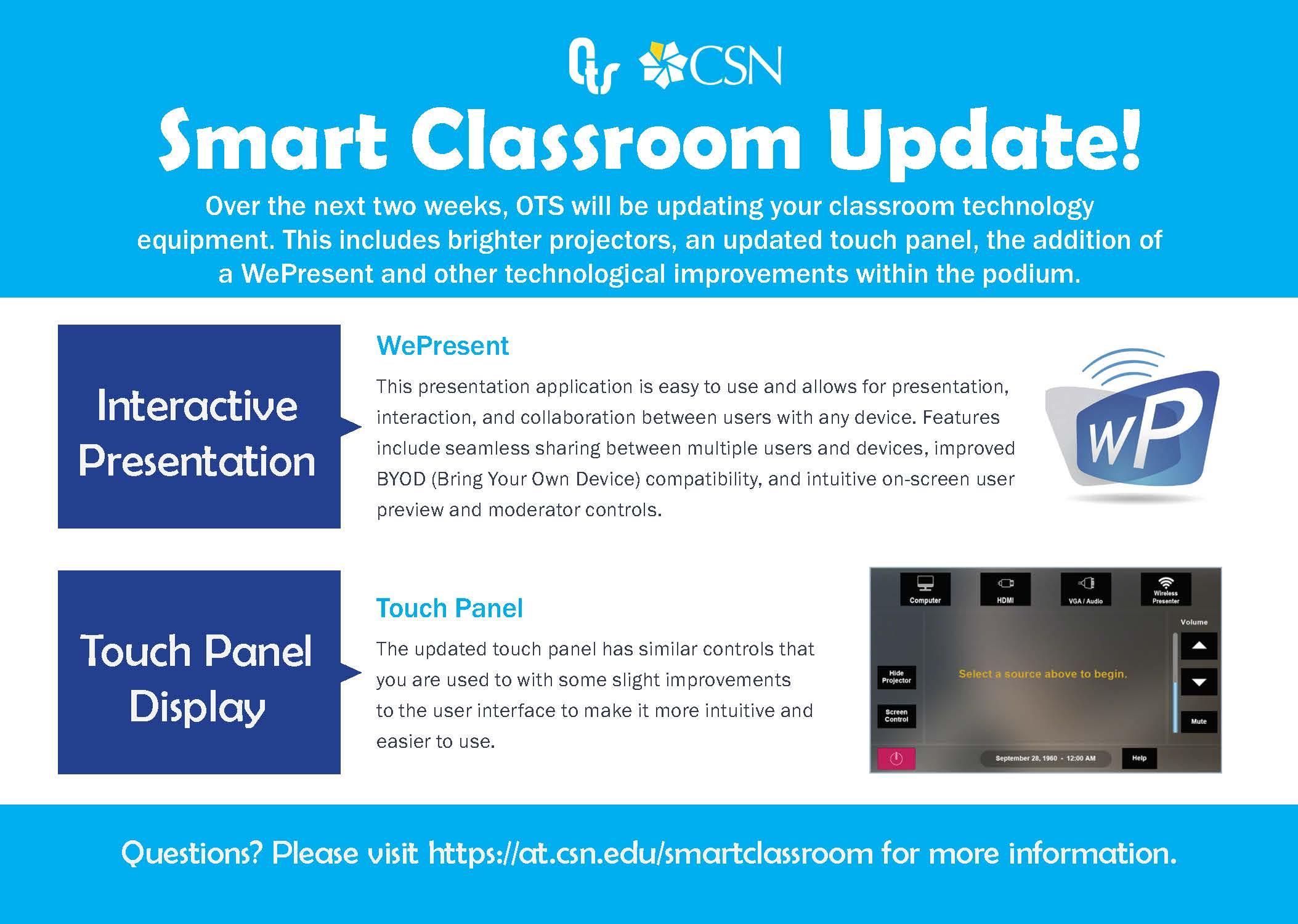 Smart Classroom update flyer