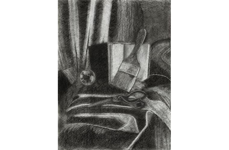 "Esmi O'Arte, ""Still Life"", Charcoal on Paper, 24"" x 18"", 2020"