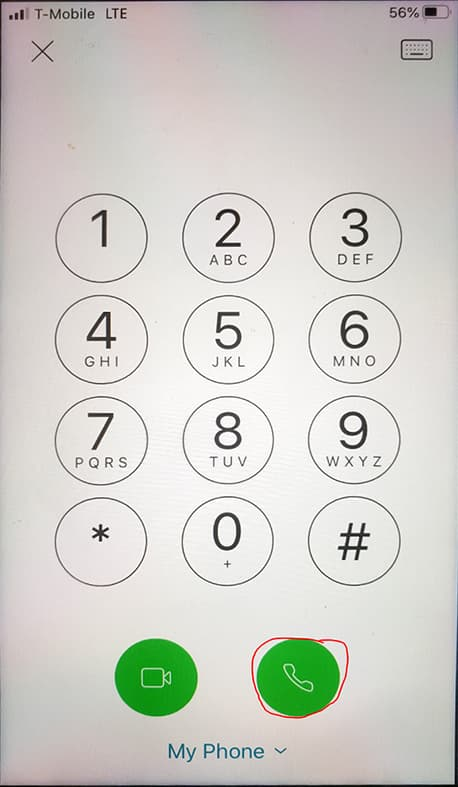Screen shot of phone dial pad with call button circled
