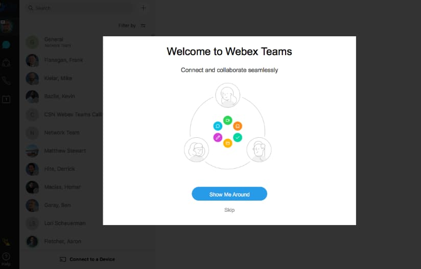 Screen shot of welcome screen for webex