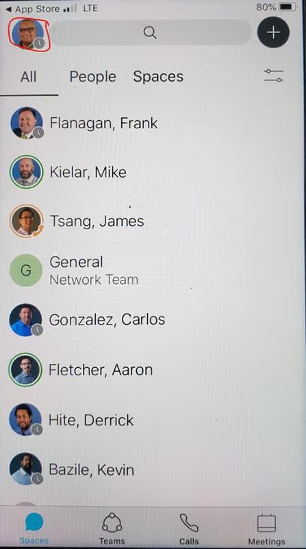 Screen shot showing User icon circled