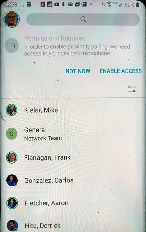 Screen shot showing Enable Access button