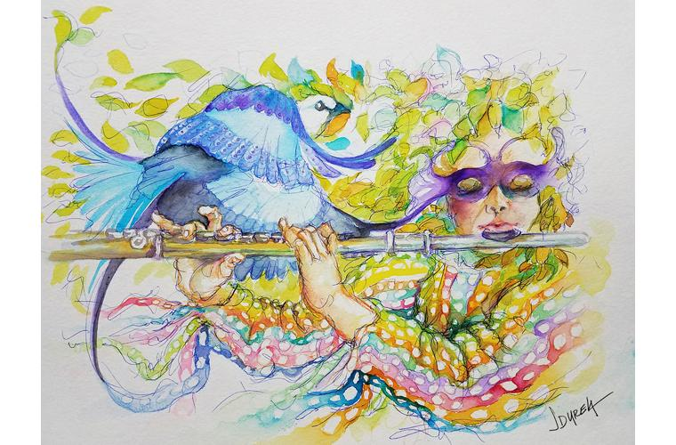 "Juan de Dios Varela Artwork ""Perlude for Flute and Watercolor"""