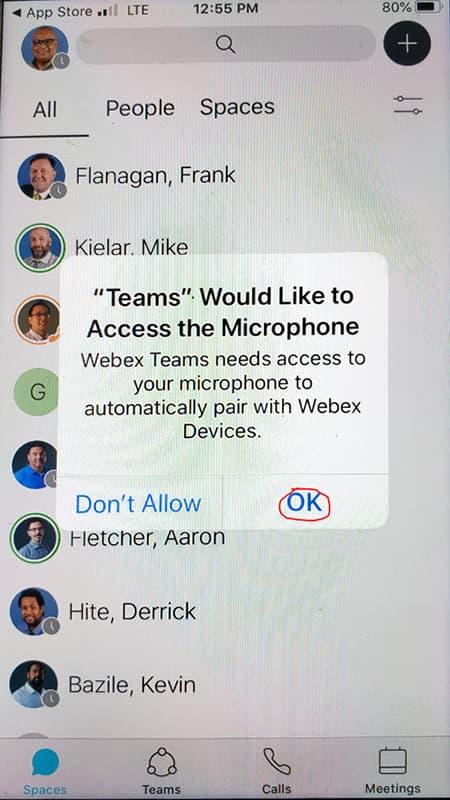 Screen shot showing OK button