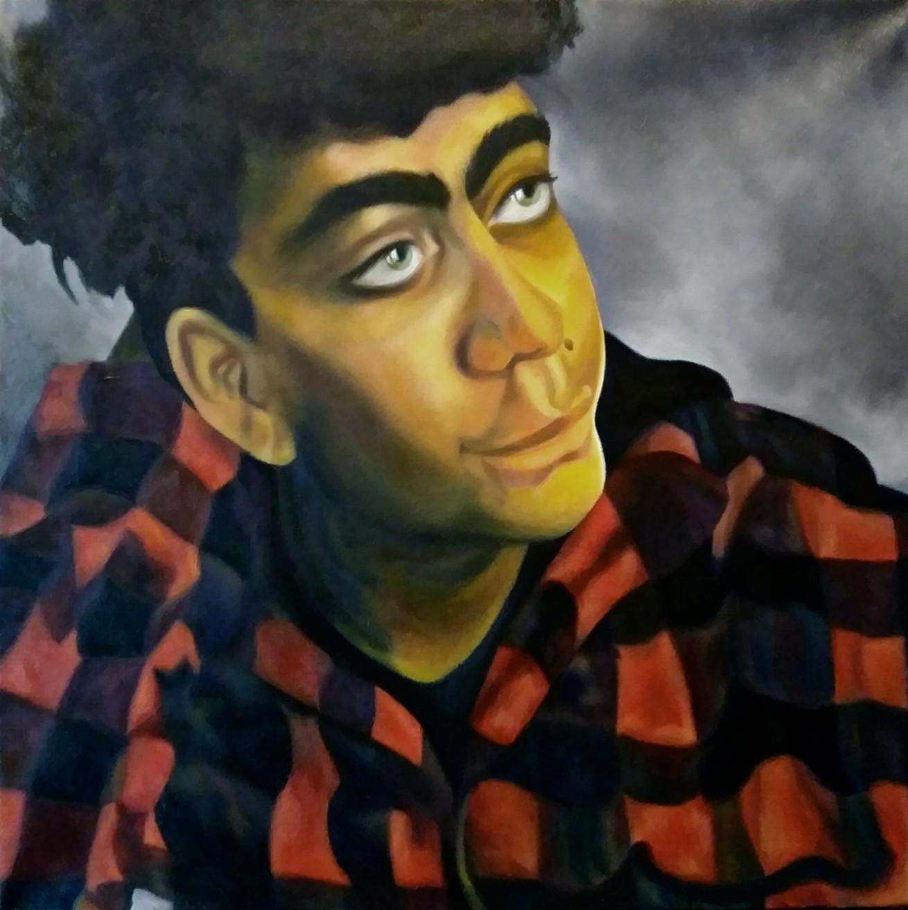 "Second Prize: Teesa Thompson, ""Portrait of My Brother"", Oil on Canvas, 20"" x 20"", Art 231, Painting I, Professor Lolita Develay"
