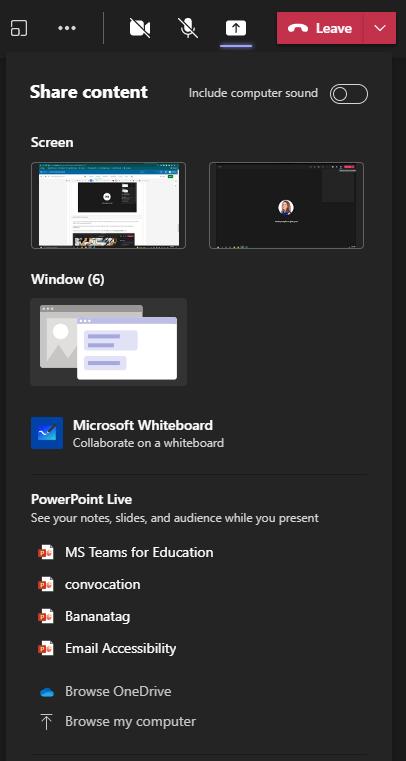 Sharing Content options menu