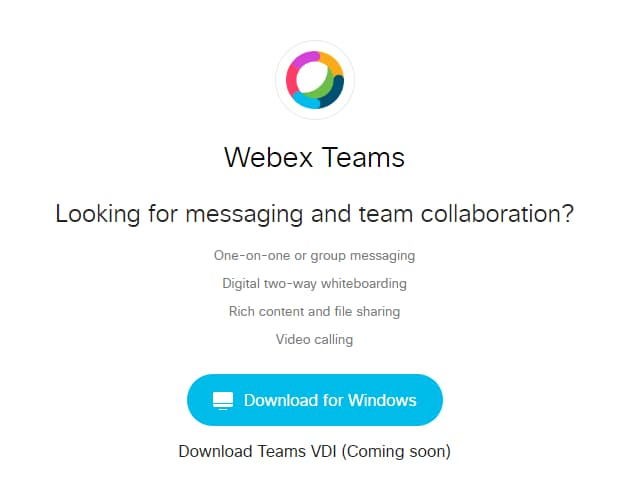 Screen shot of download page on Webex.com