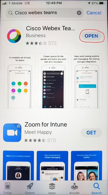 Screen shot showing Open button