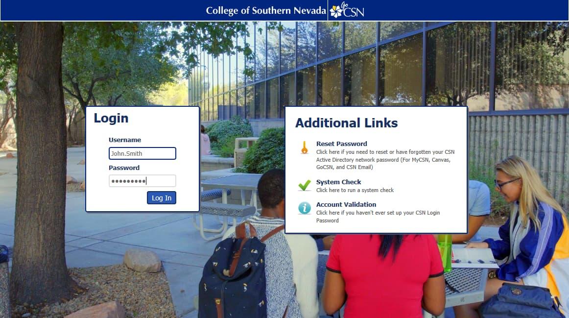 Screen shot of GoCSN login screen