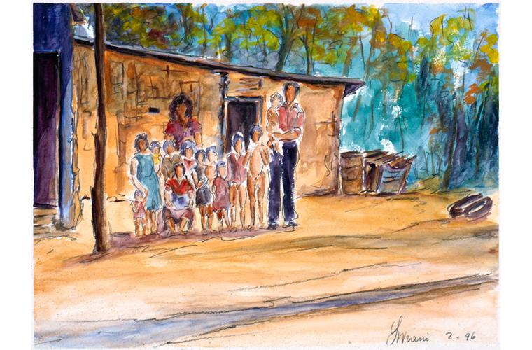 """Artwork """"Mud and Cane House with Rural Family"""" by Alfonso Lirani"""