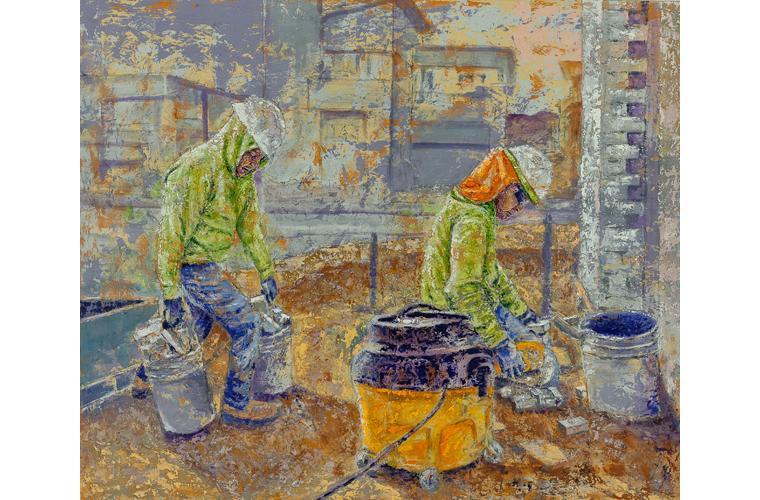 "Henry Morales Artwork ""Mis Primos Don Ever Y Jeffrey (Stonecutters)"""